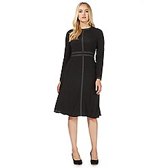 Principles by Ben de Lisi - Black contrast stitch long sleeve midi dress