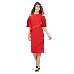 Principles by Ben de Lisi - Red layered waist cold shoulder dress
