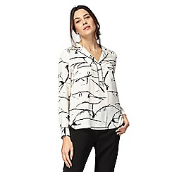 Principles Petite by Ben de Lisi - Black and ivory scribble print petite shirt