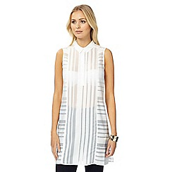 Principles by Ben de Lisi - Ivory burnout striped longline top