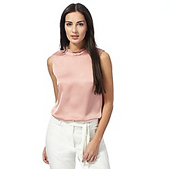 Principles by Ben de Lisi - Pink sleeveless satin blouse
