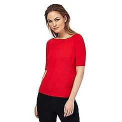 Principles by Ben de Lisi - Red 'Bardot' knot detail jersey top