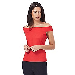 Principles by Ben de Lisi - Red ribbed Bardot top