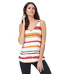 Principles by Ben de Lisi - Multi-coloured striped print V neck top