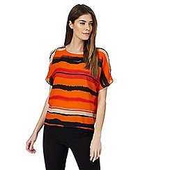 Principles by Ben de Lisi - Orange striped cold shoulder top