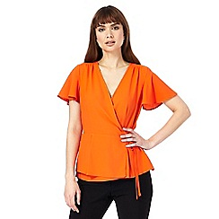 Principles by Ben de Lisi - Orange self-tie wrap top