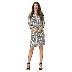 Principles Petite by Ben de Lisi - Black geometric print petite dress