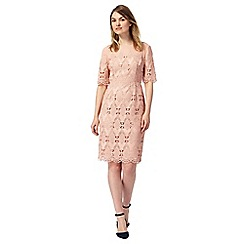 Principles by Ben de Lisi - Pale peach mesh lace shift dress