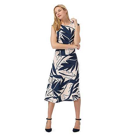 Principles by Ben de Lisi - Blue leaf print midi tea dress