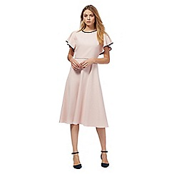 Principles by Ben de Lisi - Pink tipped fluted sleeve dress