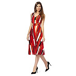 Principles by Ben de Lisi - Multi-coloured block print v-neck knee length skater dress