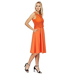 Principles by Ben de Lisi - Orange scuba lace prom dress