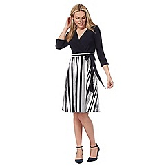 Principles by Ben de Lisi - Black striped v-neck knee length skater dress