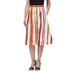 Principles by Ben de Lisi - Orange striped midi skirt