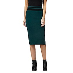 Principles by Ben de Lisi - Dark green blocked striped knitted skirt