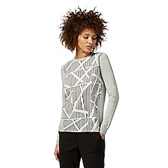 Principles by Ben de Lisi - Grey and white striped print jumper