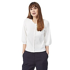 Principles by Ben de Lisi - White puff sleeve cardigan