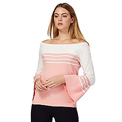 Principles by Ben de Lisi - Pink stripe print frill sleeve blouse