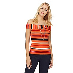 Principles by Ben de Lisi - Orange striped Bardot top