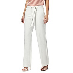 Principles Petite by Ben de Lisi - Ivory high-waisted petite trousers