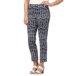 Principles by Ben de Lisi - Designer navy pebble print cropped trousers