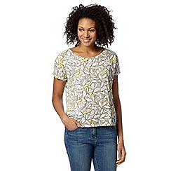 Principles by Ben de Lisi - Designer yellow leaf burnout t-shirt