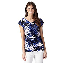 Principles by Ben de Lisi - Designer blue tropical print jersey top