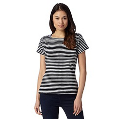 Principles by Ben de Lisi - Designer navy textured stripe top