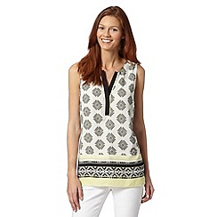 Principles by Ben de Lisi - Designer yellow embellished aztec print top