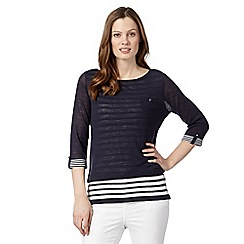 Principles by Ben de Lisi - Designer navy 2-in-1 striped jumper