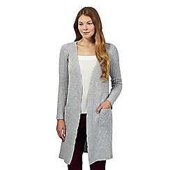 Principles by Ben de Lisi - Light grey chunky cable knit cardigan