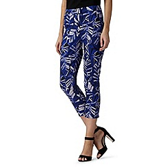 Principles by Ben de Lisi - Designer blue leaf print cropped trousers