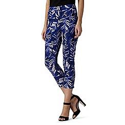 Principles by Ben de Lisi - Designer blue leaf print cropped trousers