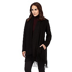 Principles by Ben de Lisi - Black fringed blanket coat