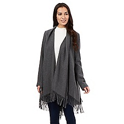 Principles by Ben de Lisi - Grey fringed blanket coat
