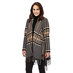 Principles by Ben de Lisi - Tan wool blend tartan fringed blanket coat