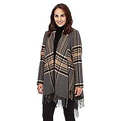 Principles by Ben de Lisi - Tan wool blend tartan fringed blanket coat