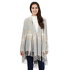 Principles by Ben de Lisi - Grey checked fringed blanket coat