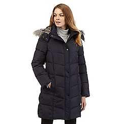 Principles Petite by Ben de Lisi - Navy faux fur trim parka jacket