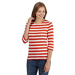 Principles by Ben de Lisi - Orange striped zip top