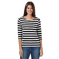 Principles by Ben de Lisi - Navy striped zip shoulder top