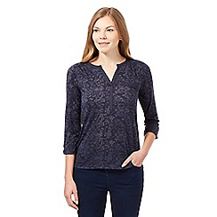 Principles by Ben de Lisi - Navy floral burn out long sleeved top
