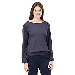 Principles by Ben de Lisi - Navy lace neck cutout shoulder top