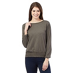 Principles by Ben de Lisi - Khaki lace neck cutout shoulder top