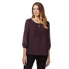 Principles by Ben de Lisi - Designer plum lace panel top