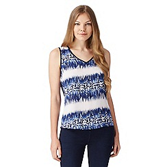 Principles by Ben de Lisi - Designer blue geometric ikat top