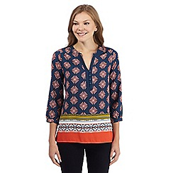Principles by Ben de Lisi - Dark blue tile print gypsy top