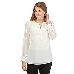 Principles by Ben de Lisi - Ivory embroidered aztec top