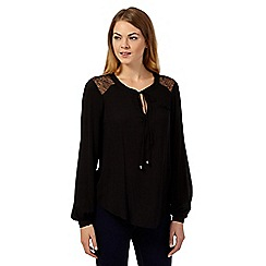 Principles by Ben de Lisi - Black long sleeved lace shoulder blouse