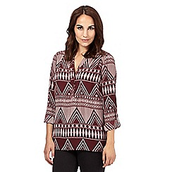 Principles by Ben de Lisi - Dark red Aztec print shirt